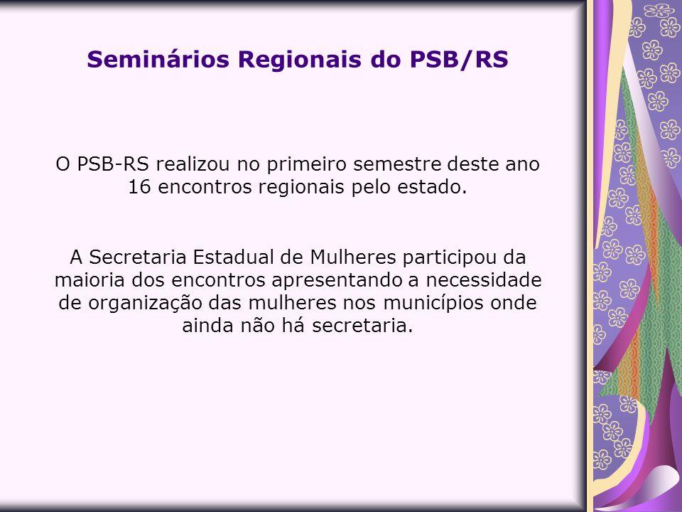 O PSB-RS realizou no primeiro semestre deste ano 16 encontros regionais pelo estado. A Secretaria Estadual de Mulheres participou da maioria dos encon