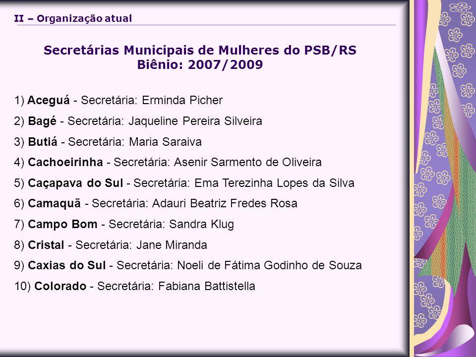 Secretárias Municipais de Mulheres do PSB/RS Biênio: 2007/2009 1) Aceguá - Secretária: Erminda Picher 2) Bagé - Secretária: Jaqueline Pereira Silveira