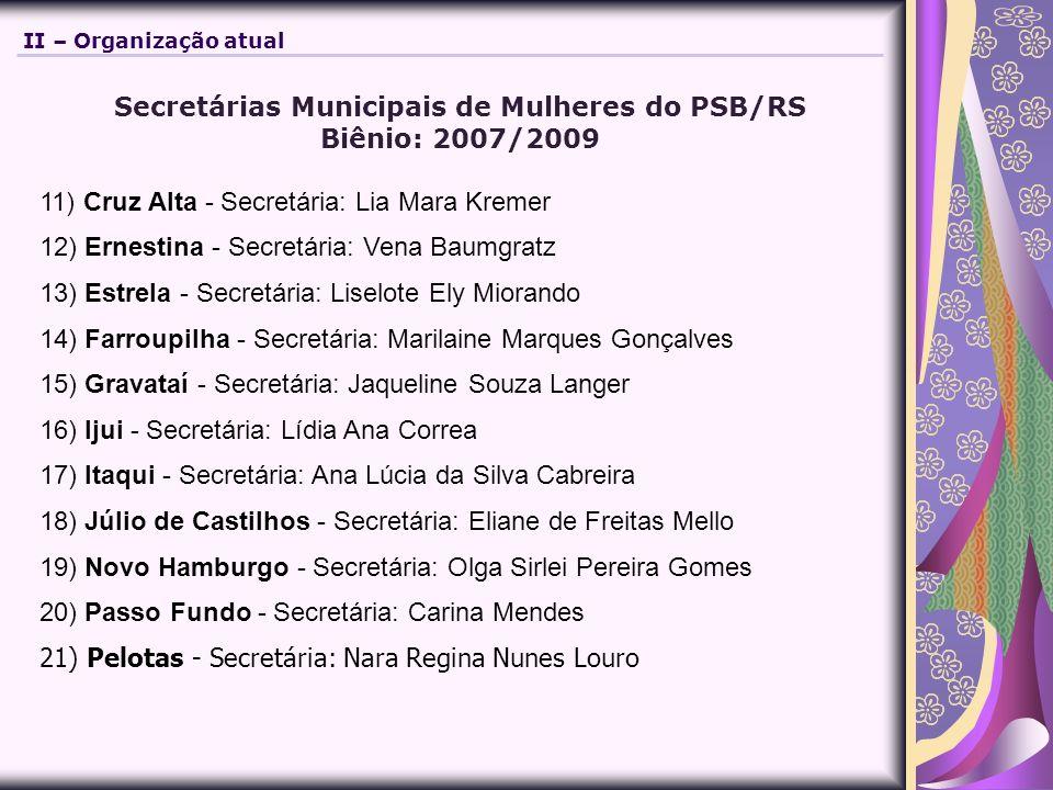 Secretárias Municipais de Mulheres do PSB/RS Biênio: 2007/2009 11) Cruz Alta - Secretária: Lia Mara Kremer 12) Ernestina - Secretária: Vena Baumgratz