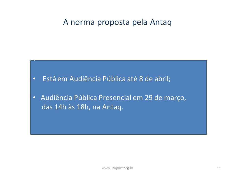 A norma proposta pela Antaq Está em Audiência Pública até 8 de abril; Audiência Pública Presencial em 29 de março, das 14h às 18h, na Antaq. 11www.usu