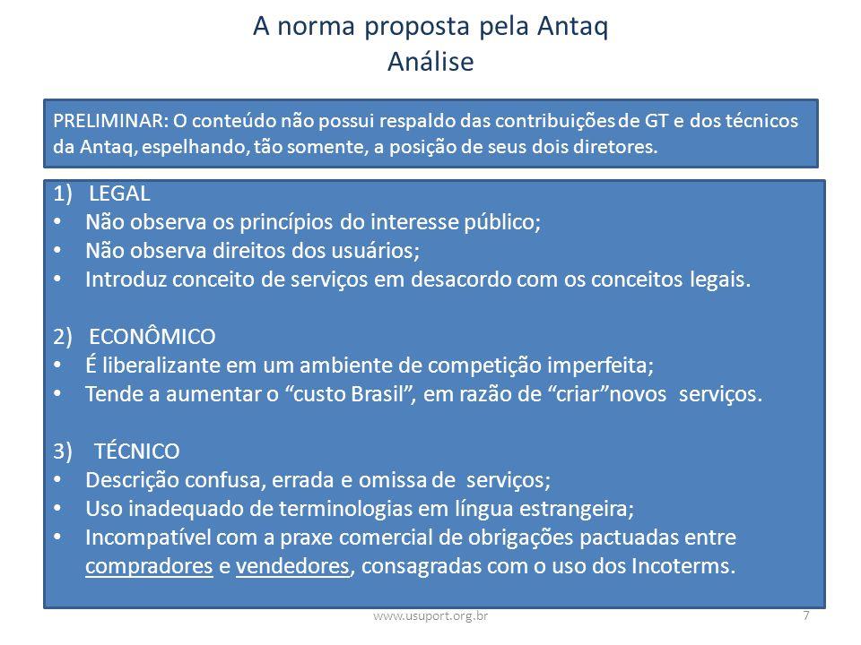 A norma proposta pela Antaq Análise 1) LEGAL Não observa os princípios do interesse público; Não observa direitos dos usuários; Introduz conceito de s