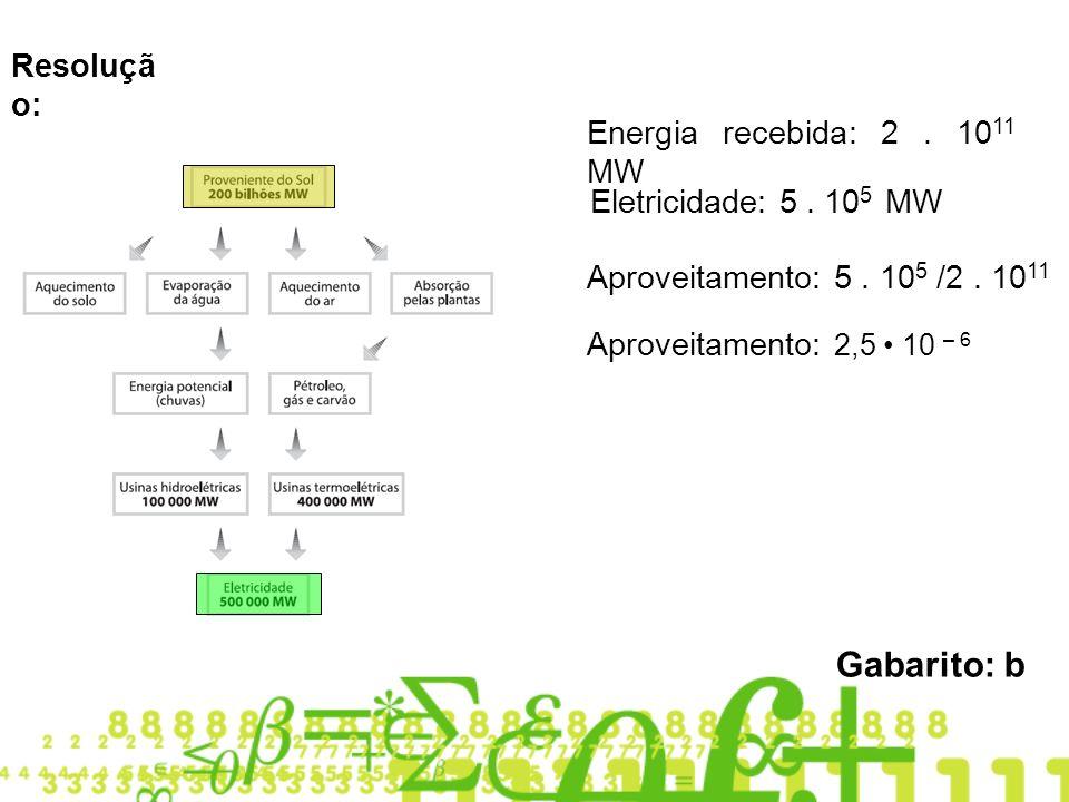 Resoluçã o: Energia recebida: 2.10 11 MW Eletricidade: 5.