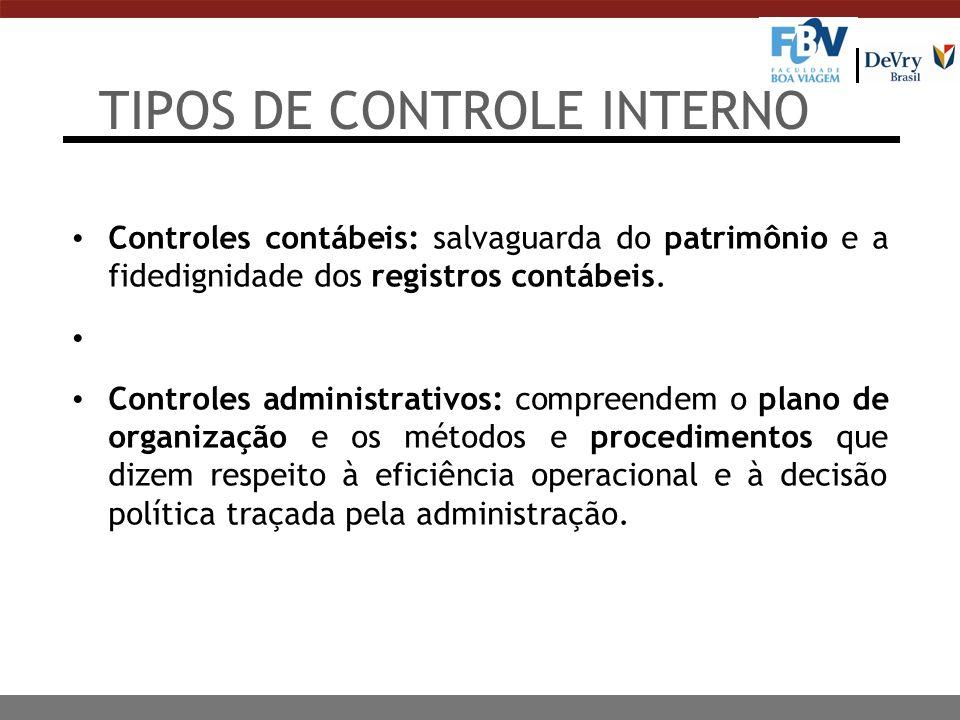 TIPOS DE CONTROLE INTERNO Controles contábeis: salvaguarda do patrimônio e a fidedignidade dos registros contábeis. Controles administrativos: compree
