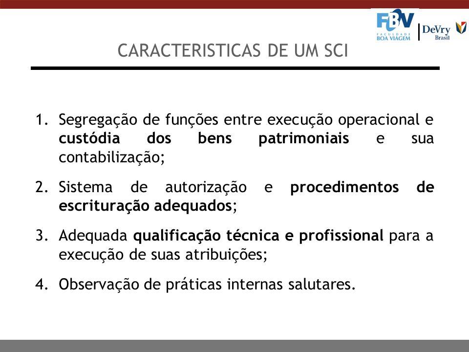 CARACTERISTICAS DE UM SCI 1.Segregação de funções entre execução operacional e custódia dos bens patrimoniais e sua contabilização; 2.Sistema de autor