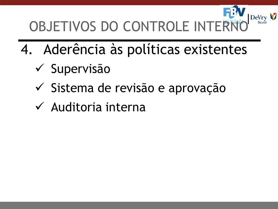 4. Aderência às políticas existentes Supervisão Sistema de revisão e aprovação Auditoria interna OBJETIVOS DO CONTROLE INTERNO