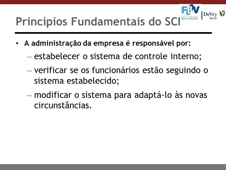 Princípios Fundamentais do SCI A administração da empresa é responsável por: – estabelecer o sistema de controle interno; – verificar se os funcionári