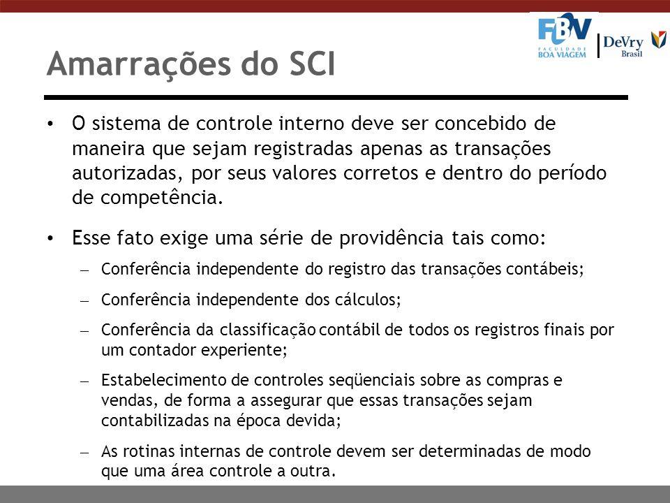 Amarrações do SCI O sistema de controle interno deve ser concebido de maneira que sejam registradas apenas as transações autorizadas, por seus valores