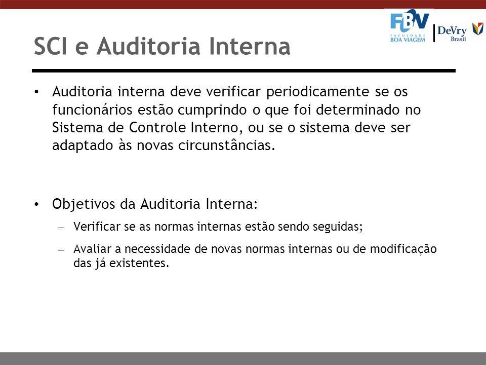 SCI e Auditoria Interna Auditoria interna deve verificar periodicamente se os funcionários estão cumprindo o que foi determinado no Sistema de Control