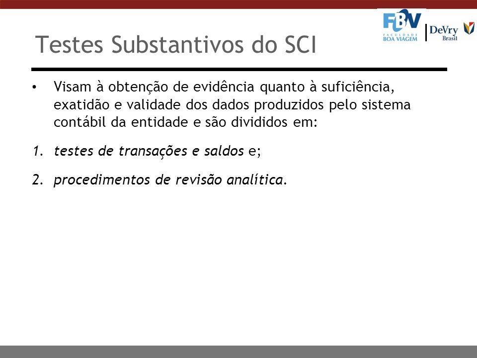 Testes Substantivos do SCI Visam à obtenção de evidência quanto à suficiência, exatidão e validade dos dados produzidos pelo sistema contábil da entid