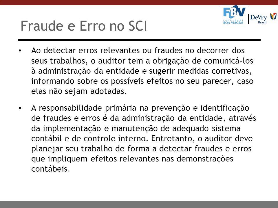 Fraude e Erro no SCI Ao detectar erros relevantes ou fraudes no decorrer dos seus trabalhos, o auditor tem a obrigação de comunicá-los à administração