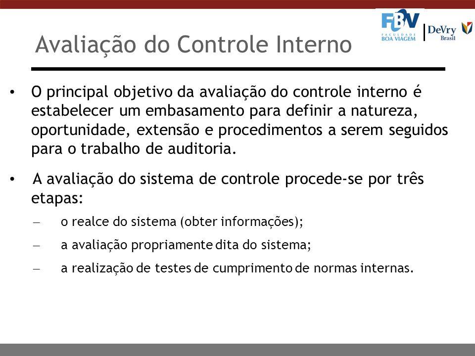 Avaliação do Controle Interno O principal objetivo da avaliação do controle interno é estabelecer um embasamento para definir a natureza, oportunidade