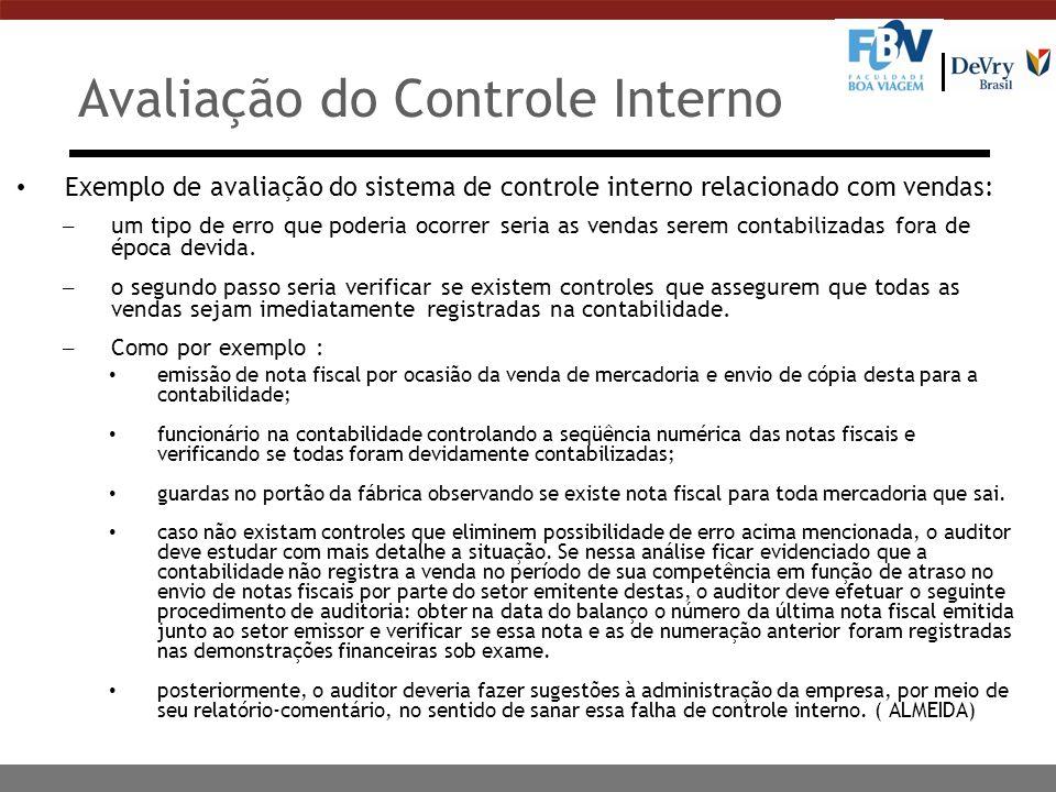 Avaliação do Controle Interno Exemplo de avaliação do sistema de controle interno relacionado com vendas: – um tipo de erro que poderia ocorrer seria