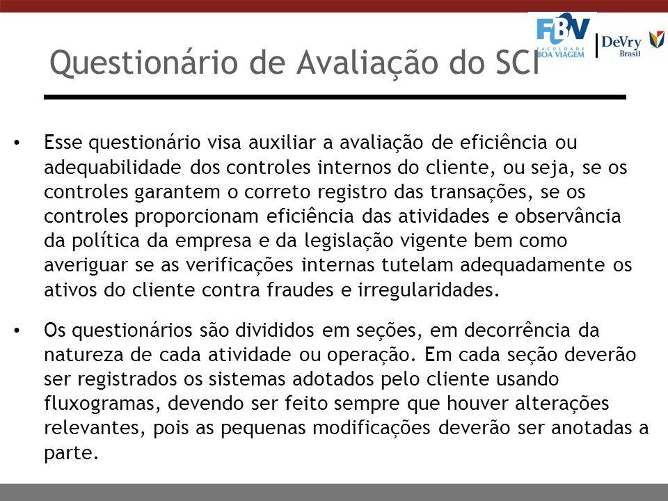 Questionário de Avaliação do SCI Esse questionário visa auxiliar a avaliação de eficiência ou adequabilidade dos controles internos do cliente, ou sej