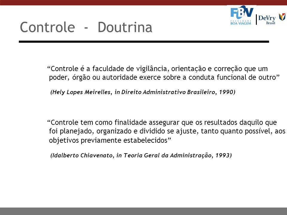 Controle - Doutrina Controle é a faculdade de vigilância, orientação e correção que um poder, órgão ou autoridade exerce sobre a conduta funcional de