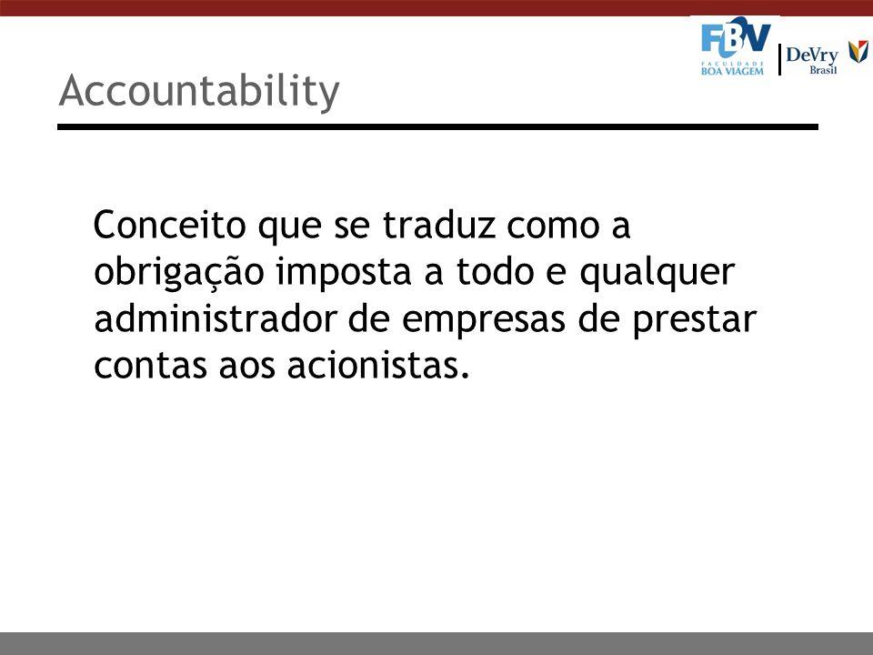 Conceito que se traduz como a obrigação imposta a todo e qualquer administrador de empresas de prestar contas aos acionistas. Accountability