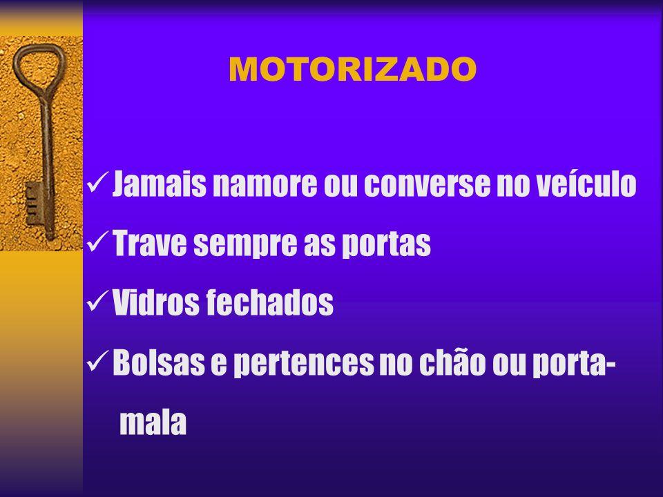 MOTORIZADO Na hora de estacionar Estacionamento particular Identifique suspeitos Retornando ao veículo