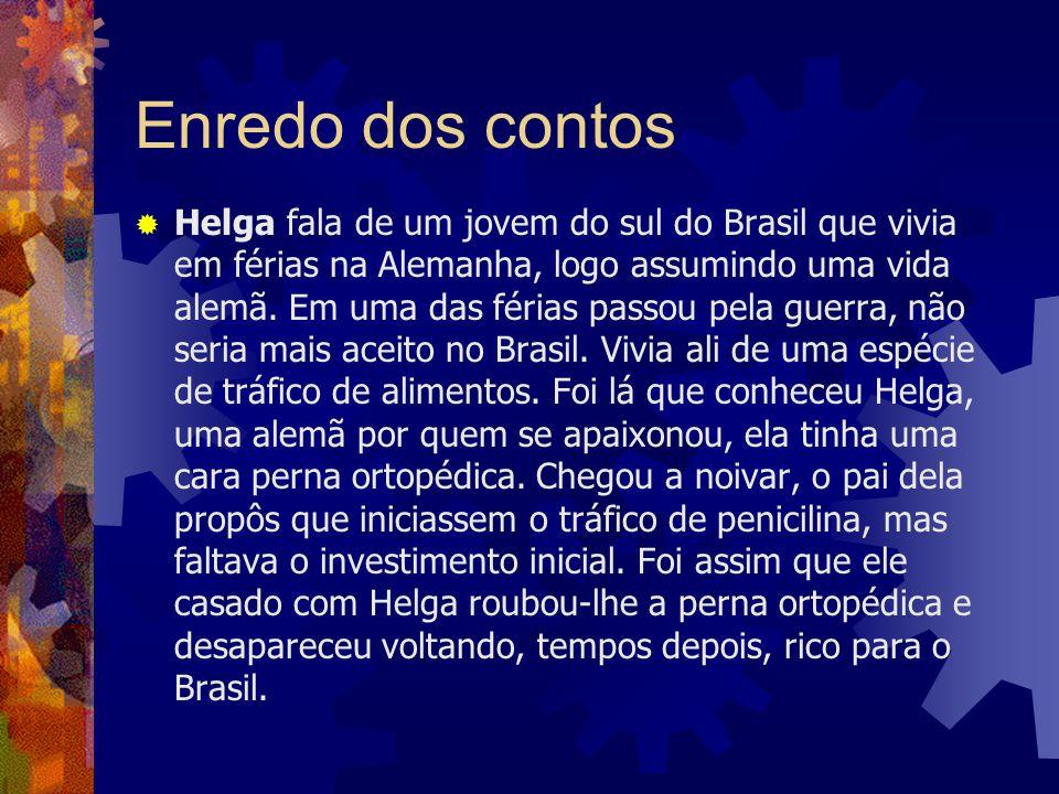Enredo dos contos Helga fala de um jovem do sul do Brasil que vivia em férias na Alemanha, logo assumindo uma vida alemã. Em uma das férias passou pel