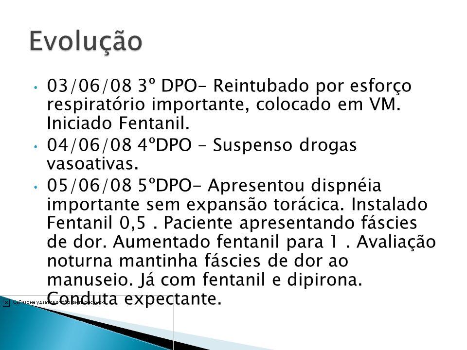 03/06/08 3º DPO- Reintubado por esforço respiratório importante, colocado em VM. Iniciado Fentanil. 04/06/08 4ºDPO - Suspenso drogas vasoativas. 05/06