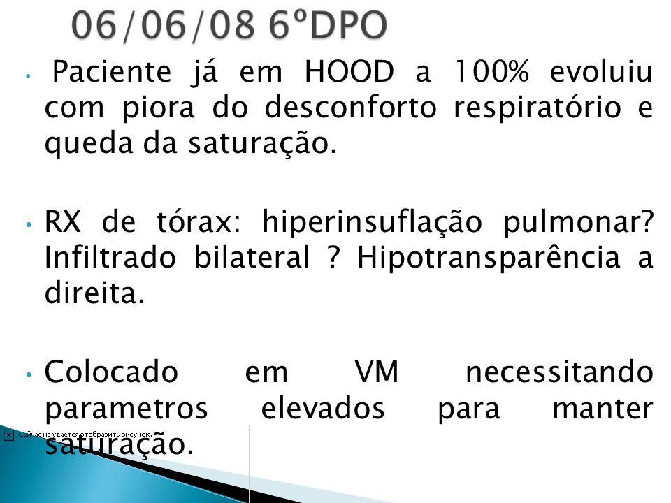 Paciente já em HOOD a 100% evoluiu com piora do desconforto respiratório e queda da saturação. RX de tórax: hiperinsuflação pulmonar? Infiltrado bilat