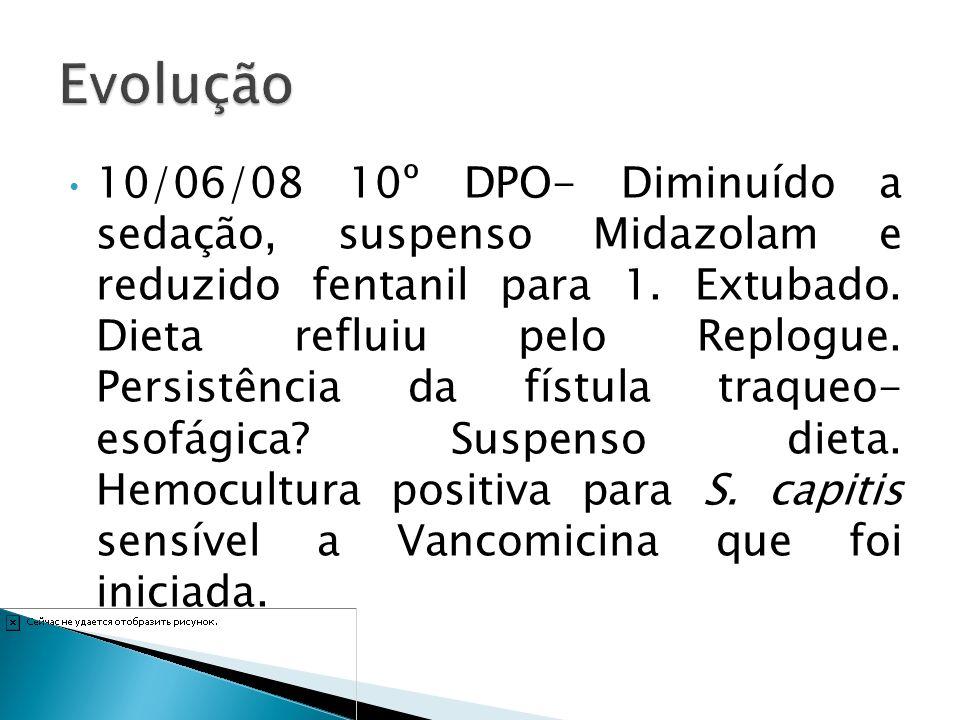 10/06/08 10º DPO- Diminuído a sedação, suspenso Midazolam e reduzido fentanil para 1. Extubado. Dieta refluiu pelo Replogue. Persistência da fístula t