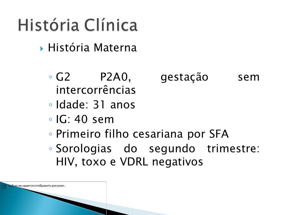 História Materna G2 P2A0, gestação sem intercorrências Idade: 31 anos IG: 40 sem Primeiro filho cesariana por SFA Sorologias do segundo trimestre: HIV