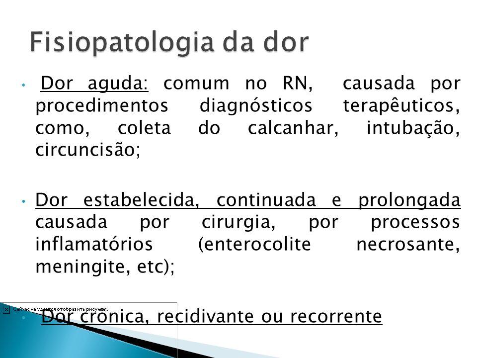 Dor aguda: comum no RN, causada por procedimentos diagnósticos terapêuticos, como, coleta do calcanhar, intubação, circuncisão; Dor estabelecida, cont