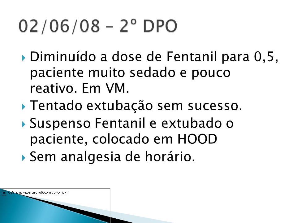 03/06/08 3º DPO- Reintubado por esforço respiratório importante, colocado em VM.