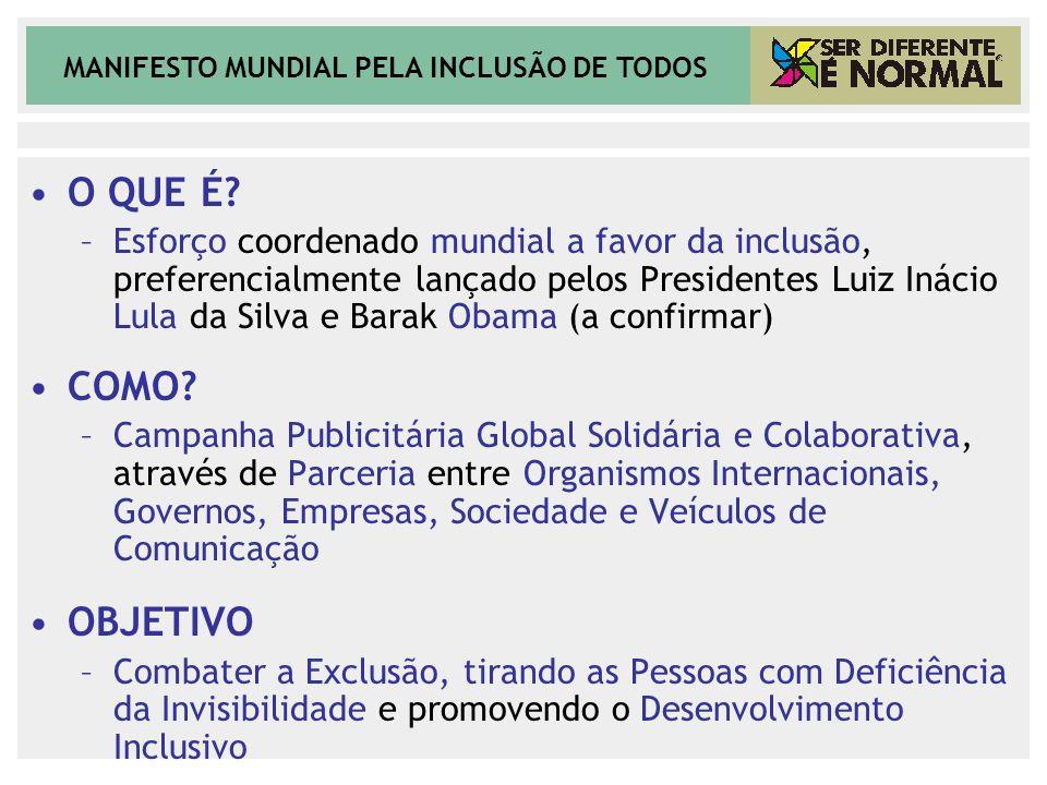 MANIFESTO MUNDIAL PELA INCLUSÃO DE TODOS O QUE É? –Esforço coordenado mundial a favor da inclusão, preferencialmente lançado pelos Presidentes Luiz In