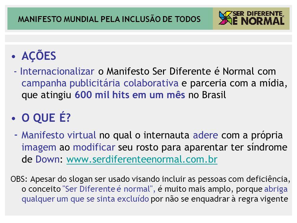 MANIFESTO MUNDIAL PELA INCLUSÃO DE TODOS AÇÕES - Internacionalizar o Manifesto Ser Diferente é Normal com campanha publicitária colaborativa e parceri
