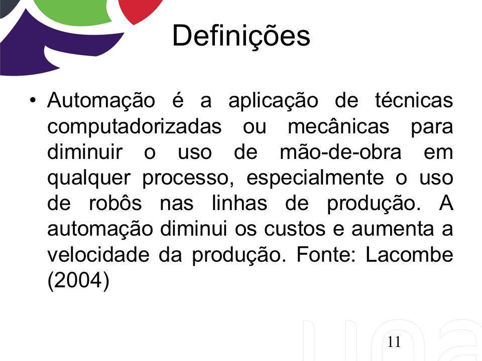 Definições Automação é a aplicação de técnicas computadorizadas ou mecânicas para diminuir o uso de mão-de-obra em qualquer processo, especialmente o