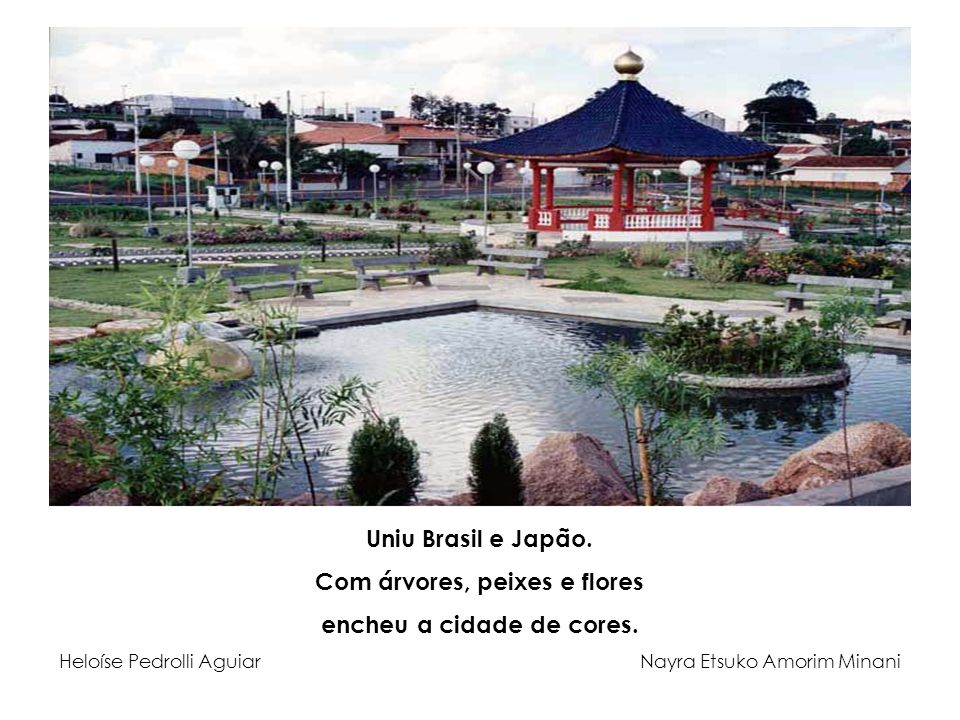 Uniu Brasil e Japão. Com árvores, peixes e flores encheu a cidade de cores. Heloíse Pedrolli Aguiar Nayra Etsuko Amorim Minani