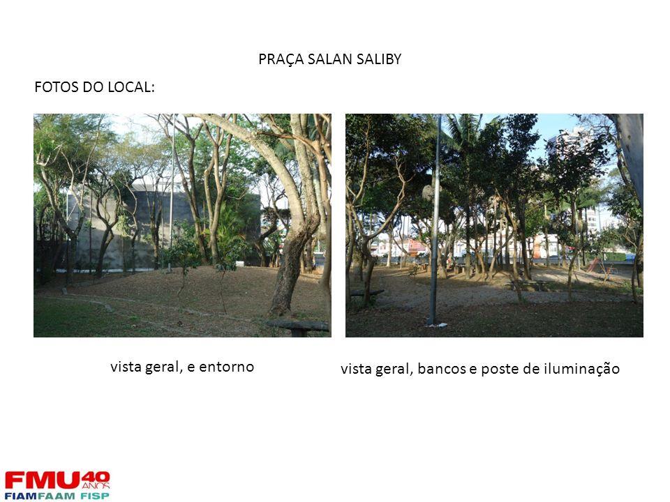 FOTOS DO LOCAL: vista geral, e entorno vista geral, bancos e poste de iluminação PRAÇA SALAN SALIBY