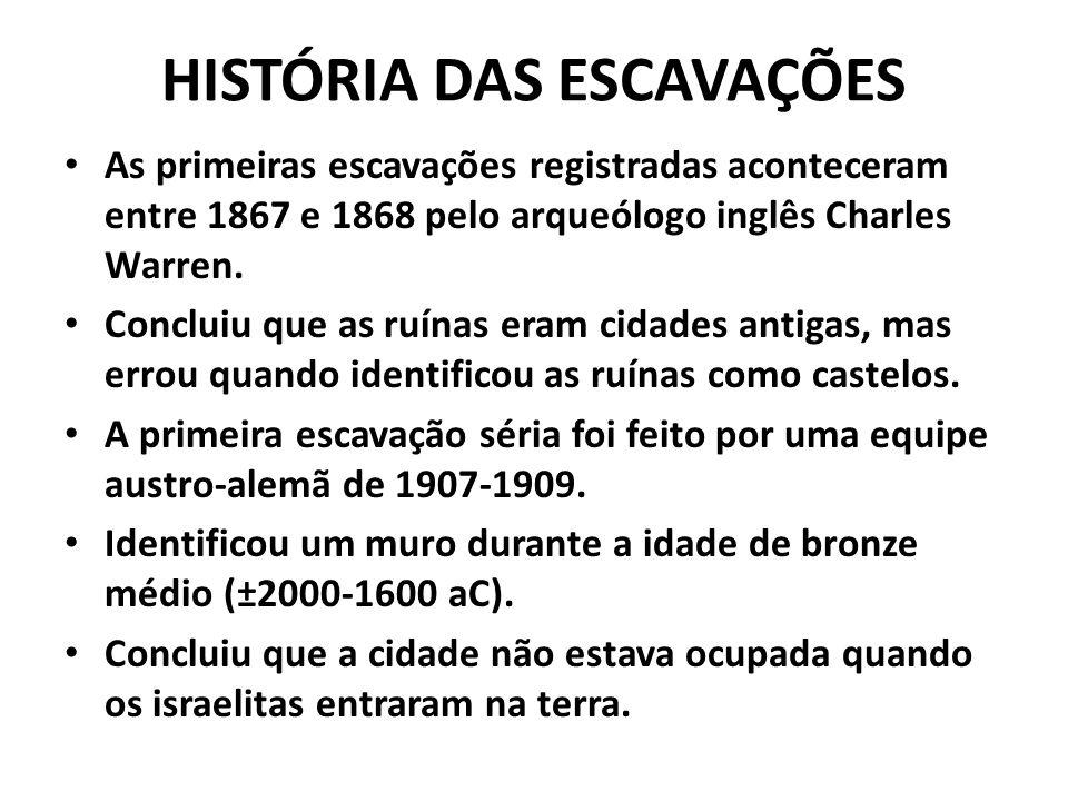 HISTÓRIA DAS ESCAVAÇÕES As primeiras escavações registradas aconteceram entre 1867 e 1868 pelo arqueólogo inglês Charles Warren. Concluiu que as ruína