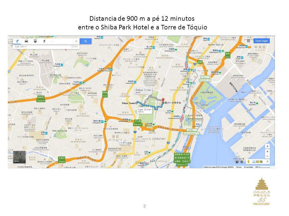 Distancia de 900 m a pé 12 minutos entre o Shiba Park Hotel e a Torre de Tóquio 3