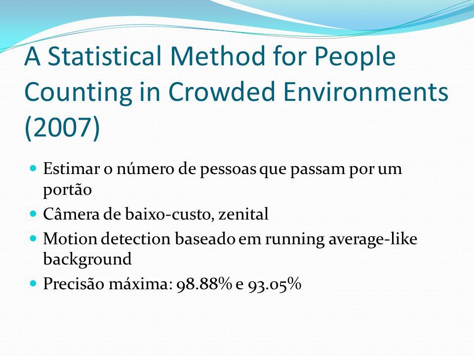 A Statistical Method for People Counting in Crowded Environments (2007) Estimar o número de pessoas que passam por um portão Câmera de baixo-custo, zenital Motion detection baseado em running average-like background Precisão máxima: 98.88% e 93.05%