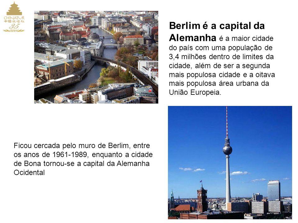 Berlim é a capital da Alemanha é a maior cidade do país com uma população de 3,4 milhões dentro de limites da cidade, além de ser a segunda mais populosa cidade e a oitava mais populosa área urbana da União Europeia.