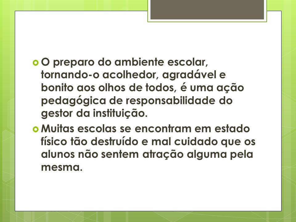 O preparo do ambiente escolar, tornando-o acolhedor, agradável e bonito aos olhos de todos, é uma ação pedagógica de responsabilidade do gestor da ins