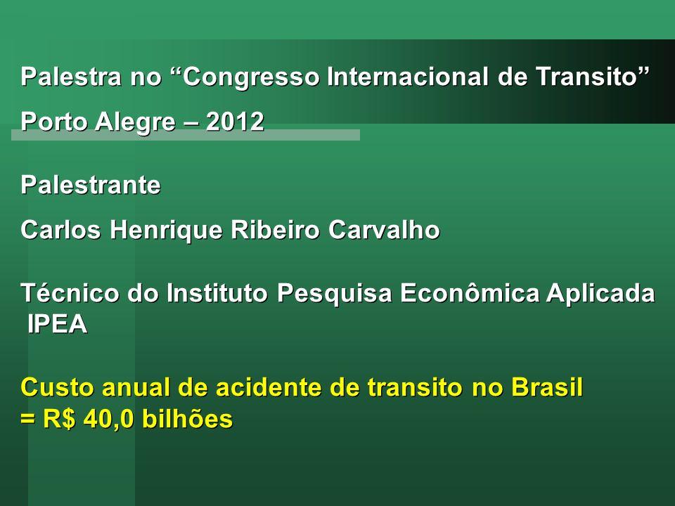 Palestra no Congresso Internacional de Transito Porto Alegre – 2012 Palestrante Carlos Henrique Ribeiro Carvalho Técnico do Instituto Pesquisa Econômi