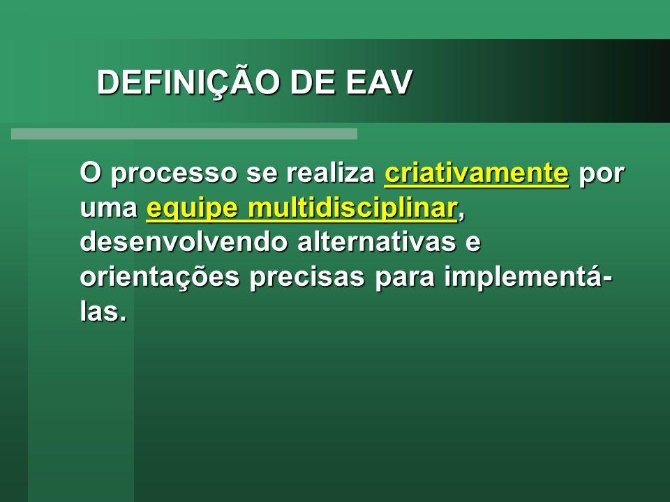 DEFINIÇÃO DE EAV O processo se realiza criativamente por uma equipe multidisciplinar, desenvolvendo alternativas e orientações precisas para implement
