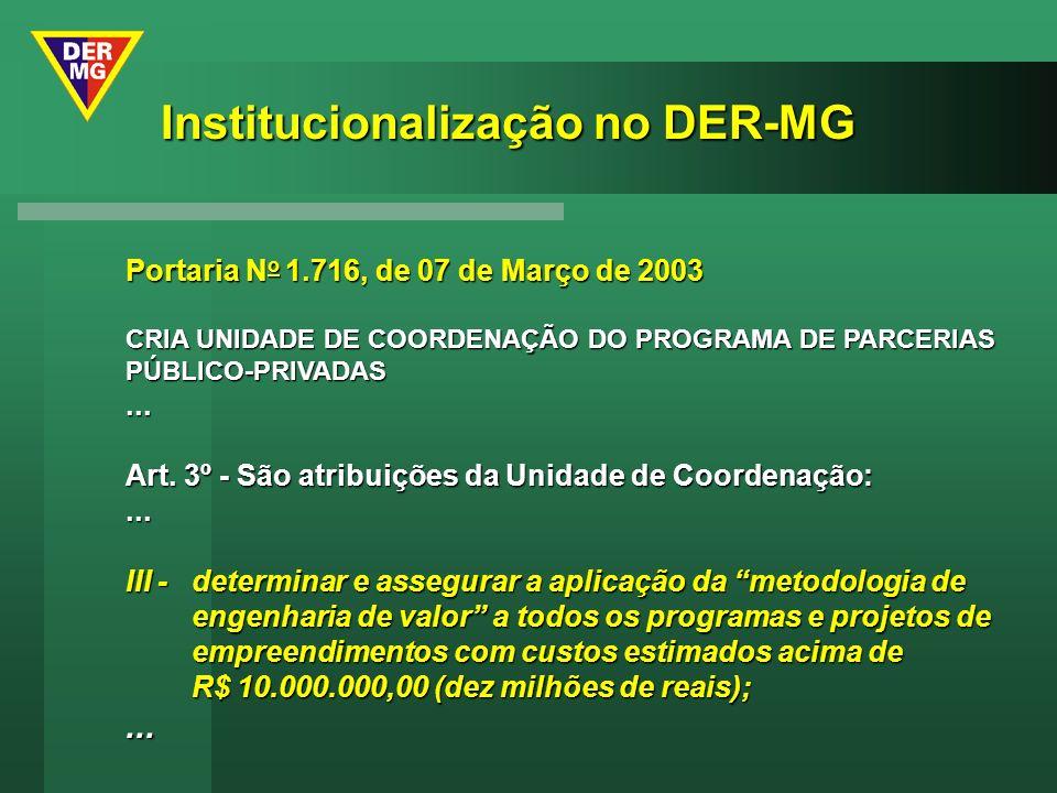 Portaria N o 1.716, de 07 de Março de 2003 CRIA UNIDADE DE COORDENAÇÃO DO PROGRAMA DE PARCERIAS PÚBLICO-PRIVADAS... Art. 3º - São atribuições da Unida