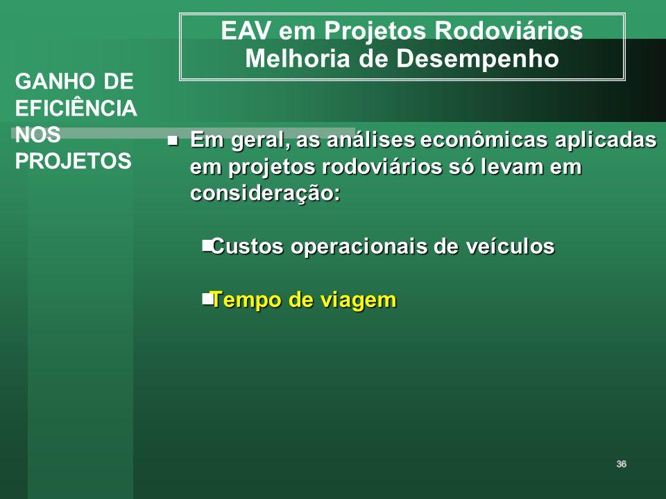 Em geral, as análises econômicas aplicadas em projetos rodoviários só levam em consideração: Em geral, as análises econômicas aplicadas em projetos ro