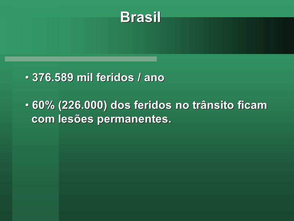 Brasil 376.589 mil feridos / ano 60% (226.000) dos feridos no trânsito ficam com lesões permanentes. 376.589 mil feridos / ano 60% (226.000) dos ferid