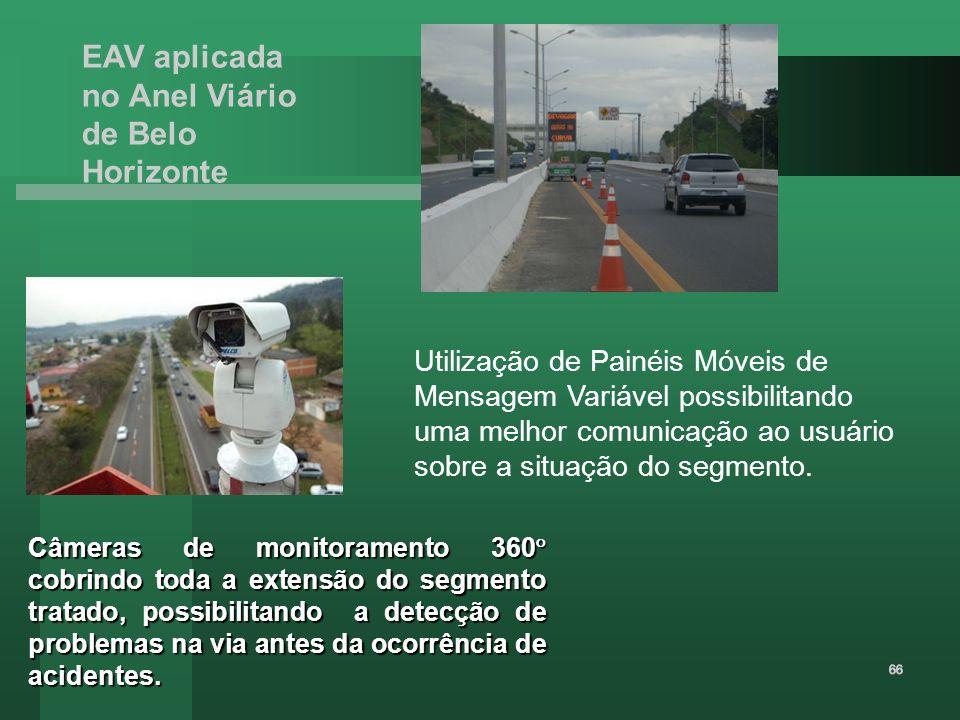 EAV aplicada no Anel Viário de Belo Horizonte Câmeras de monitoramento 360 cobrindo toda a extensão do segmento tratado, possibilitando a detecção de