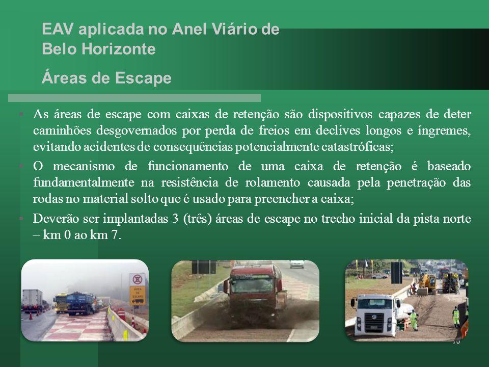 Áreas de Escape As áreas de escape com caixas de retenção são dispositivos capazes de deter caminhões desgovernados por perda de freios em declives lo