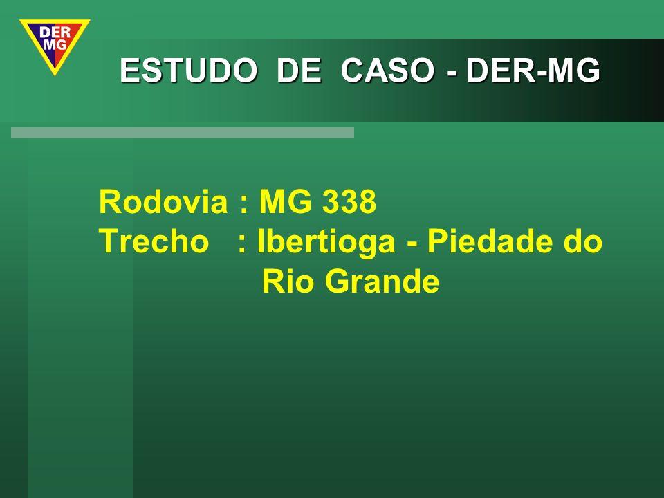 ESTUDO DE CASO - DER-MG Rodovia : MG 338 Trecho : Ibertioga - Piedade do Rio Grande