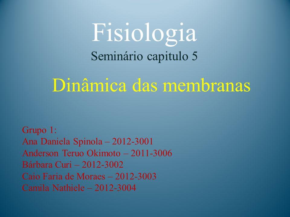 Fisiologia Seminário capitulo 5 Dinâmica das membranas Grupo 1: Ana Daniela Spinola – 2012-3001 Anderson Teruo Okimoto – 2011-3006 Bárbara Curi – 2012