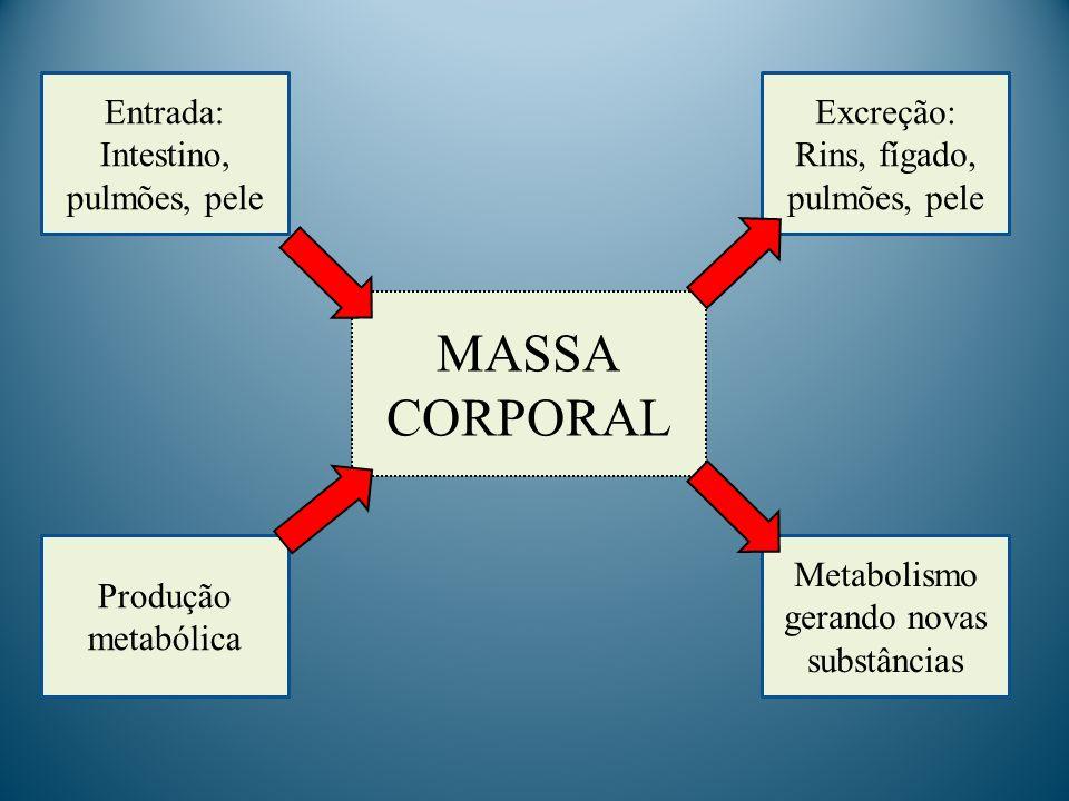 MASSA CORPORAL Entrada: Intestino, pulmões, pele Excreção: Rins, fígado, pulmões, pele Produção metabólica Metabolismo gerando novas substâncias