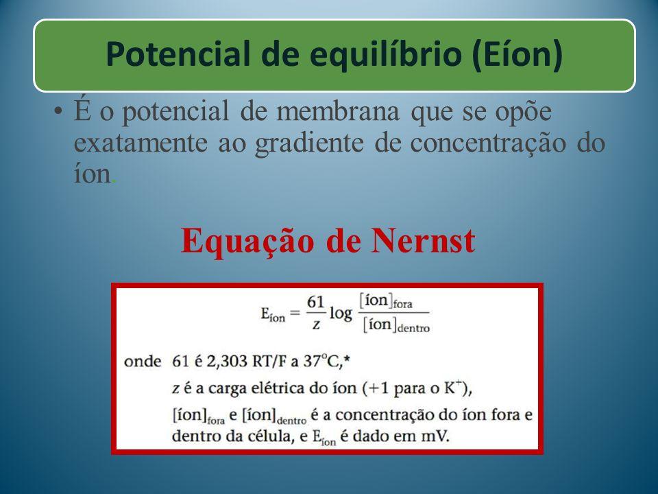 Potencial de equilíbrio (Eíon) É o potencial de membrana que se opõe exatamente ao gradiente de concentração do íon. Equação de Nernst