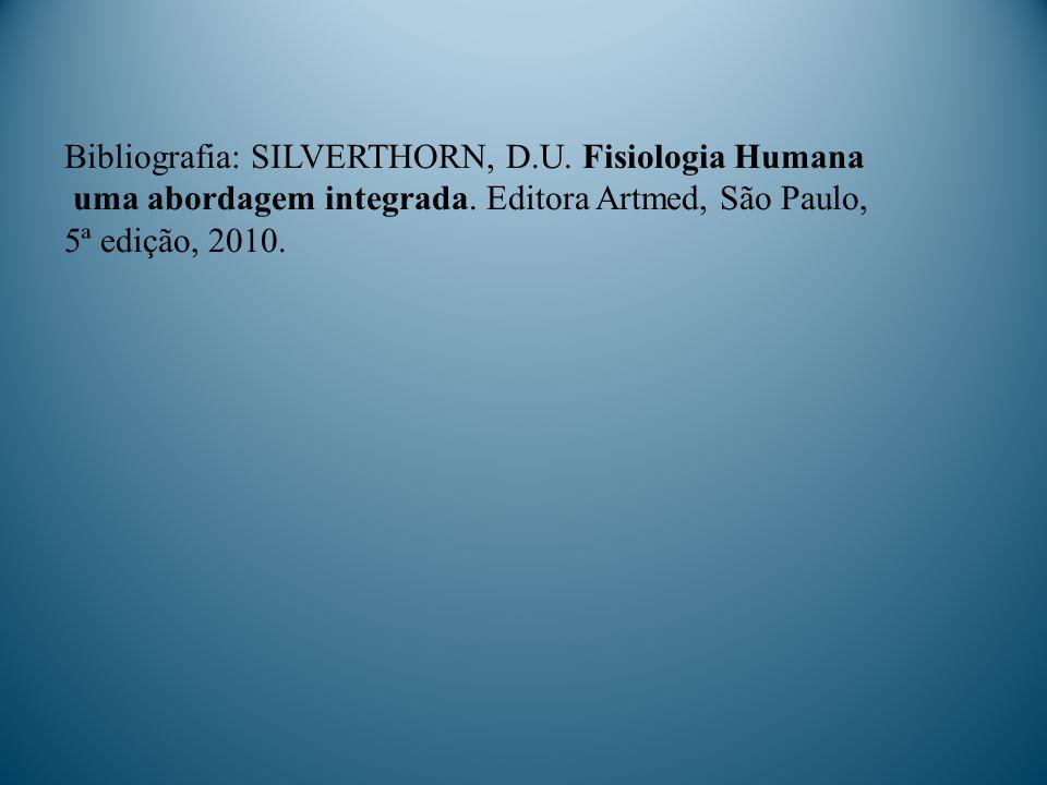 Bibliografia: SILVERTHORN, D.U. Fisiologia Humana uma abordagem integrada. Editora Artmed, São Paulo, 5ª edição, 2010.