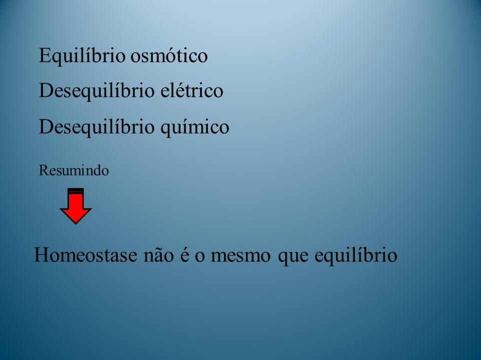Equilíbrio osmótico Resumindo Desequilíbrio elétrico Desequilíbrio químico Homeostase não é o mesmo que equilíbrio